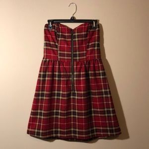 Plaid Strapless Dress ❤️